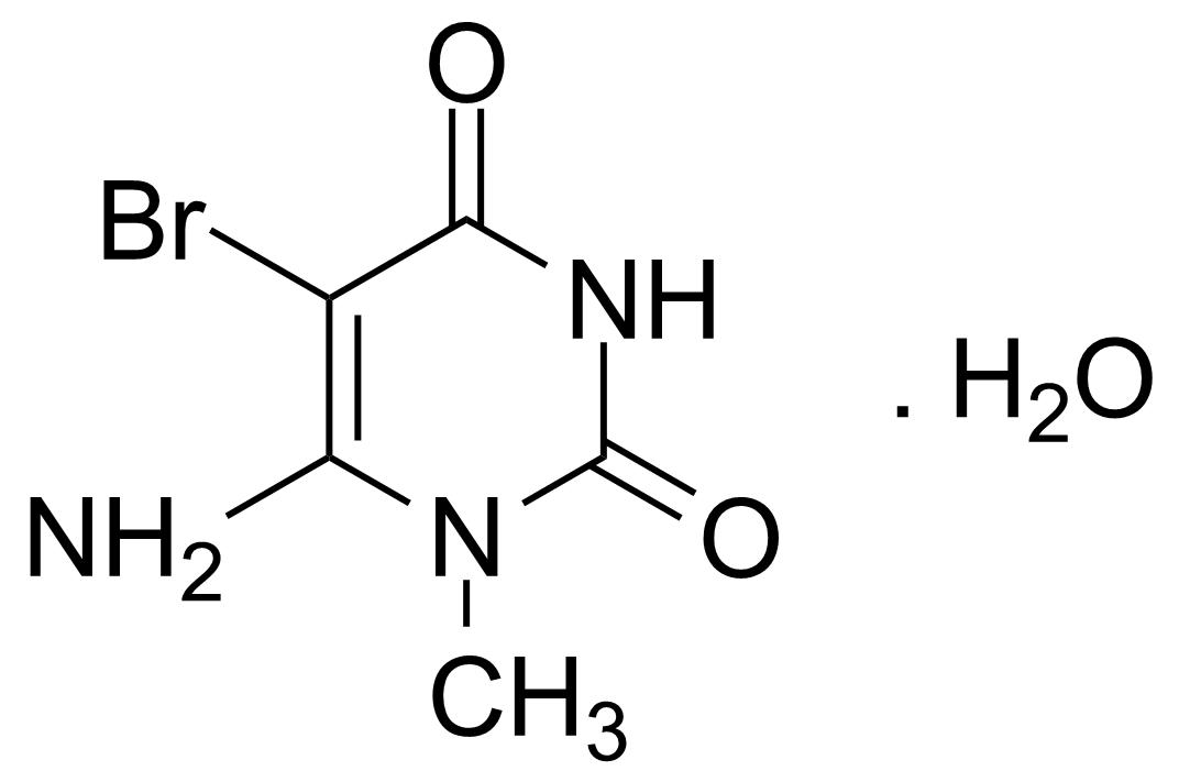 Structure of 6-Amino-5-bromo-1-methyluracil monohydrate