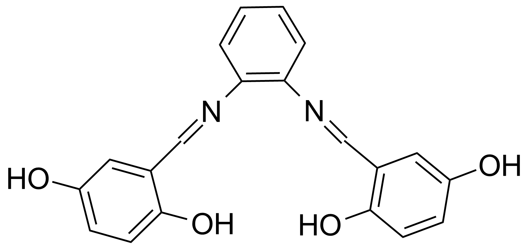 Structure of N,N-Bis(2,5-dihydroxybenzylidene)-1,2-diaminobenzene
