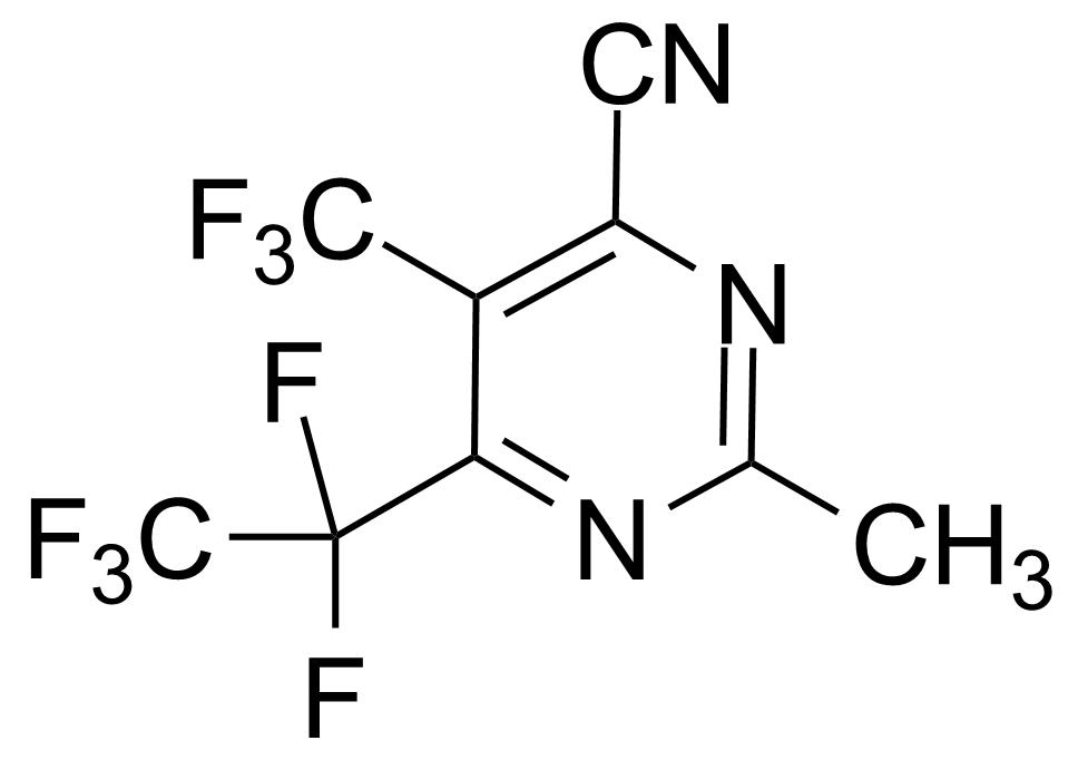 Structure of 2-Methyl-6-pentafluoroethyl-5-trifluoromethylpyrimidine-4-carbonitrile