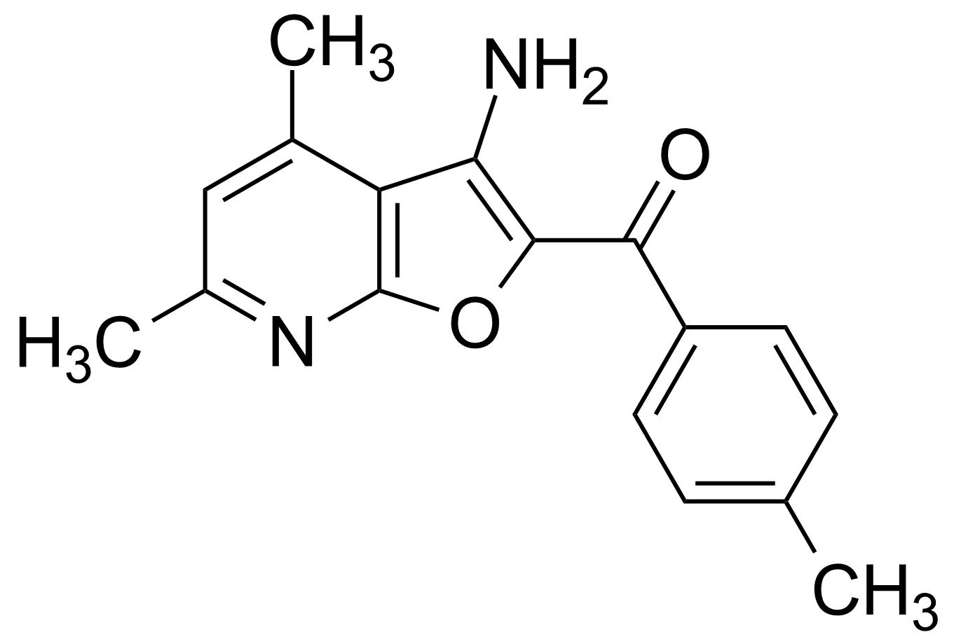 Structure of (3-Amino-4,6-dimethyl-furo[2,3-b]pyridin-2-yl)-p-tolyl-methanone