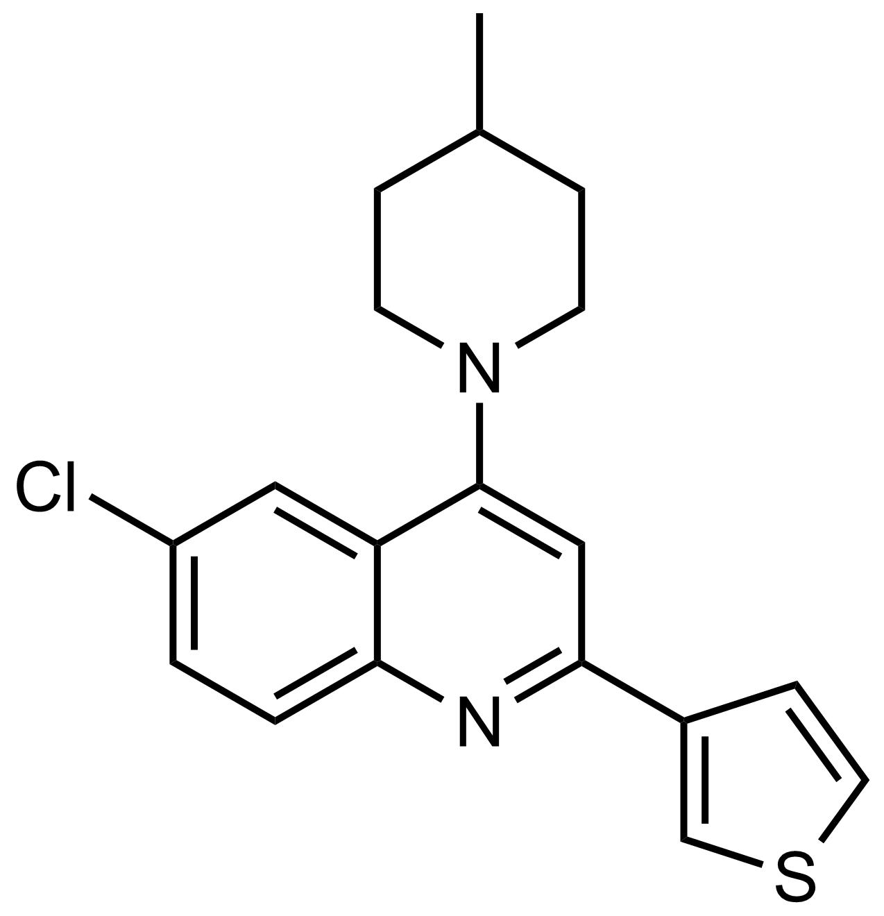 Structure of 6-Chloro-4-(4-methylpiperidin-1-yl)-2-(thiophen-3-yl)quinoline