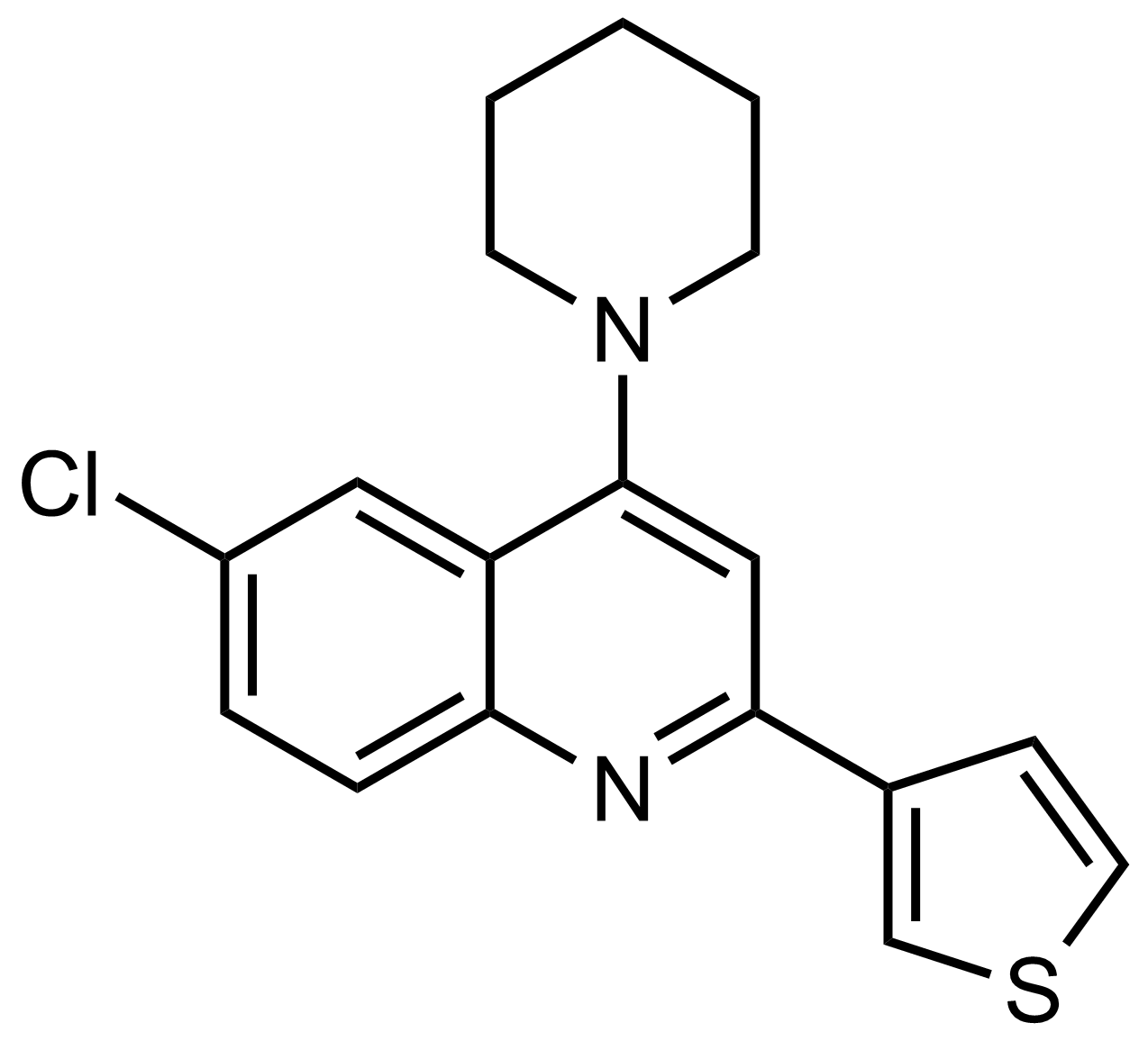 Structure of 6-Chloro-4-(piperidin-1-yl)-2-(thiophen-3-yl)quinoline