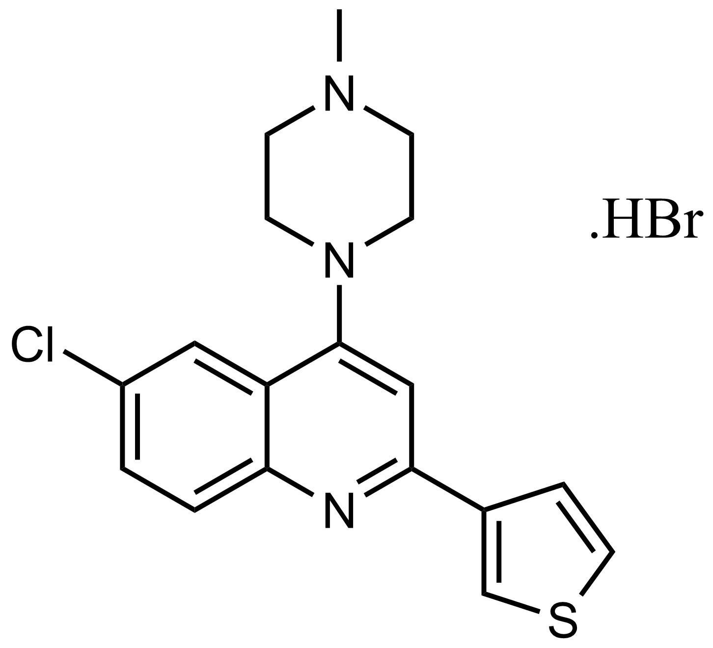 Structure of 6-Chloro-4-(4-methylpiperazin-1-yl)-2-(thiophen-3-yl)quinoline hydrobromide