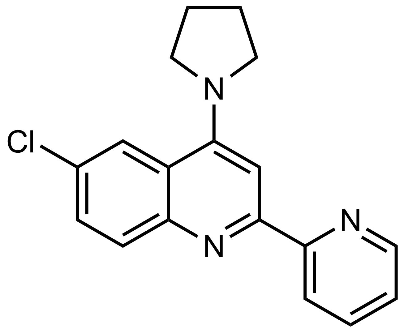 Structure of 6-Chloro-2-(pyridin-2-yl)-4-(pyrrolidin-1-yl)quinoline