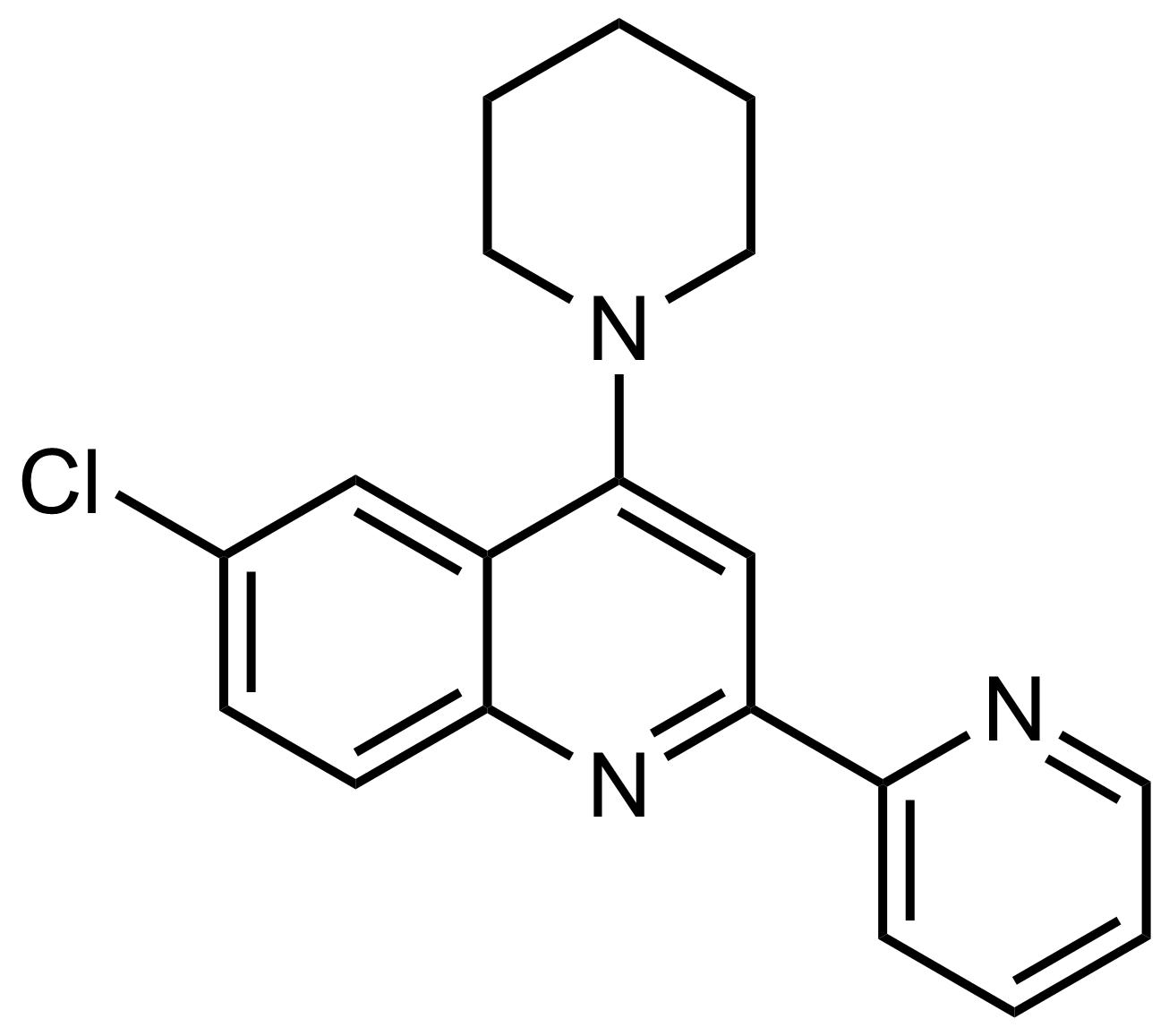 Structure of 6-Chloro-4-(piperidin-1-yl)-2-(pyridin-2-yl)quinoline