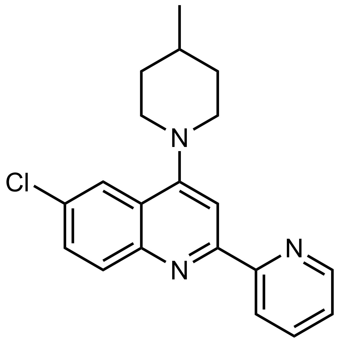 Structure of 6-Chloro-4-(4-methylpiperidin-1-yl)-2-(pyridin-2-yl)quinoline