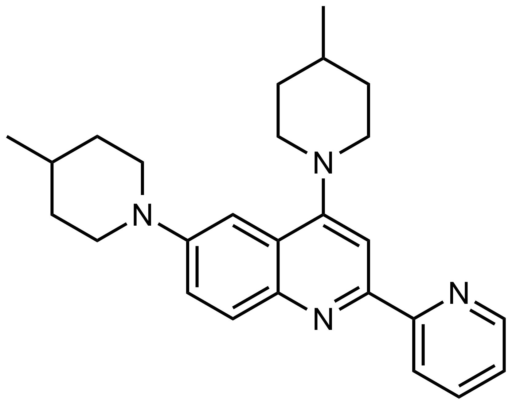 Structure of 4,6-Bis(4-methylpiperidin-1-yl)-2-(pyridin-2-yl)quinoline