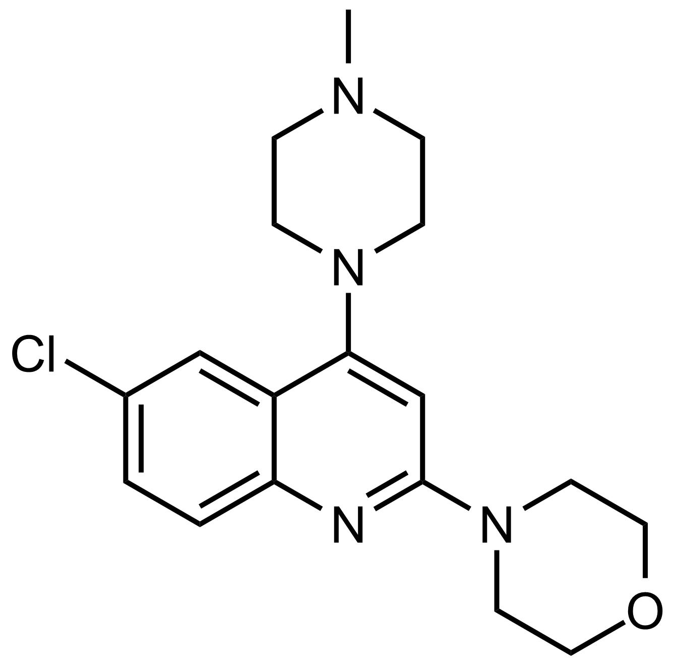 Structure of 4-(6-Chloro-4-(4-methylpiperazin-1-yl)quinolin-2-yl)morpholine