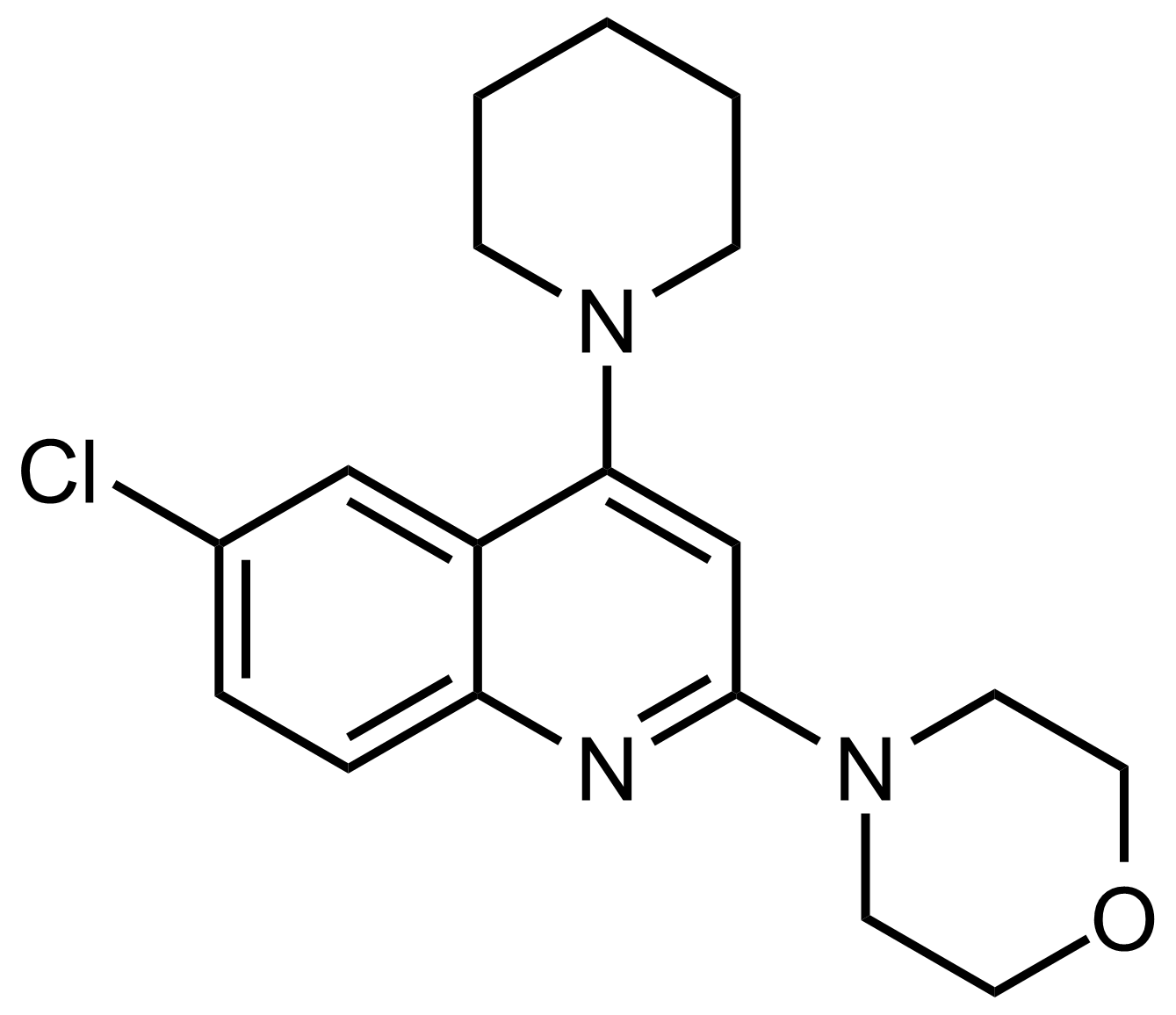 Structure of 4-(6-Chloro-4-(piperidin-1-yl)quinolin-2-yl)morpholine