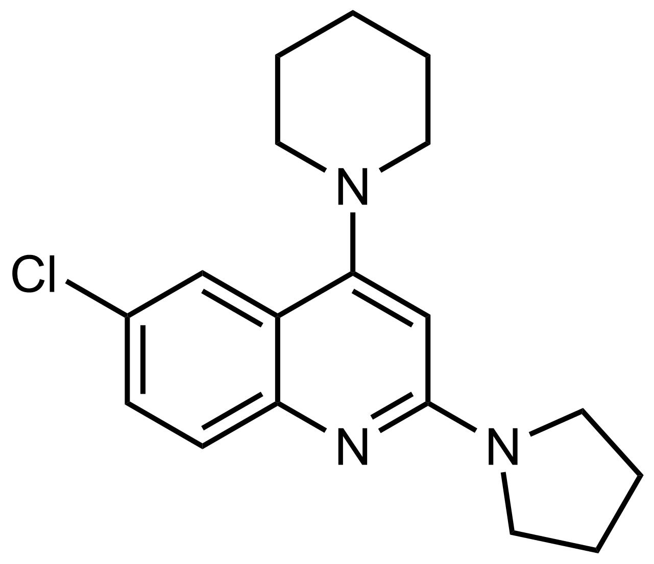 Structure of 6-Chloro-4-(piperidin-1-yl)-2-(pyrrolidin-1-yl)quinoline