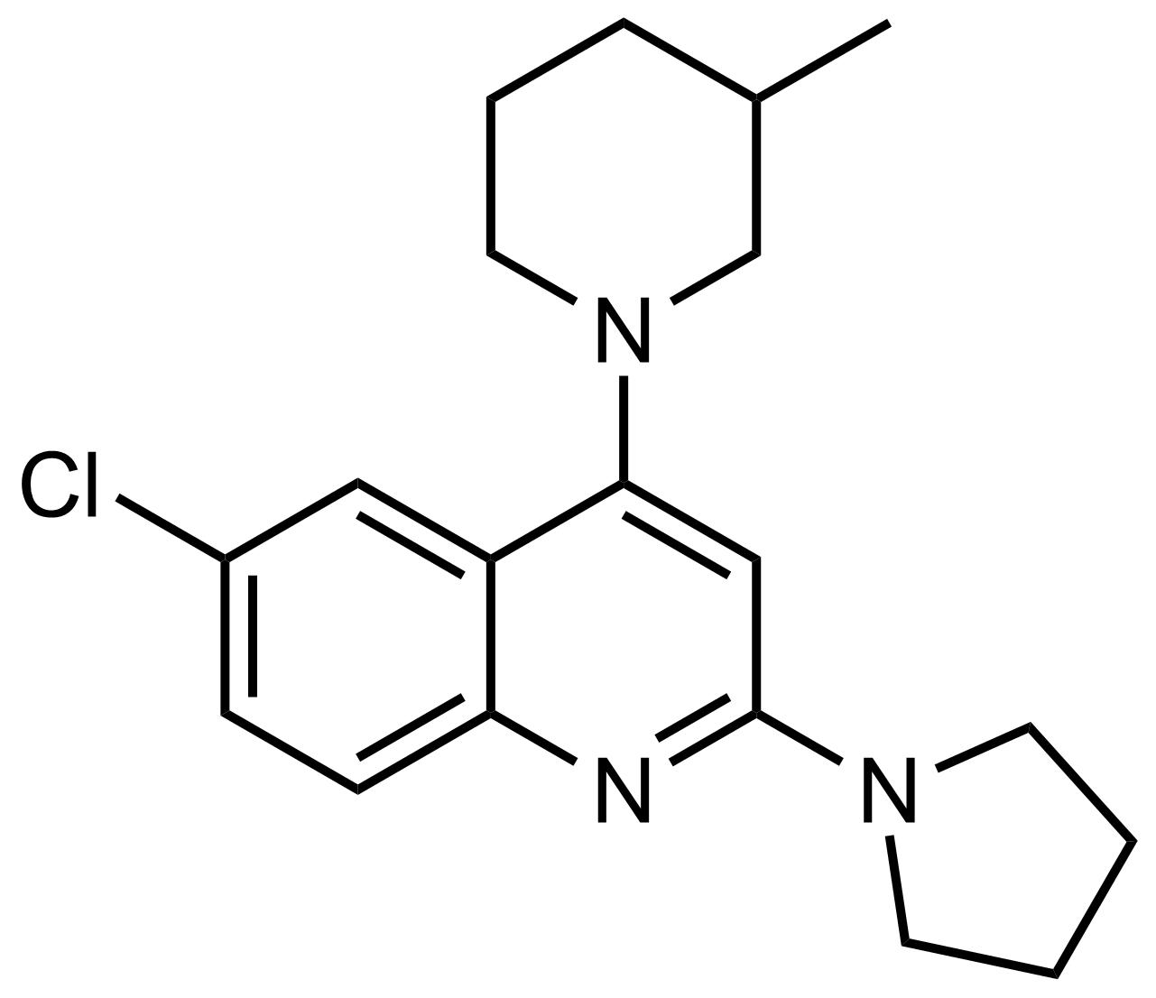 Structure of 6-Chloro-4-(3-methylpiperidin-1-yl)-2-(pyrrolidin-1-yl)quinoline