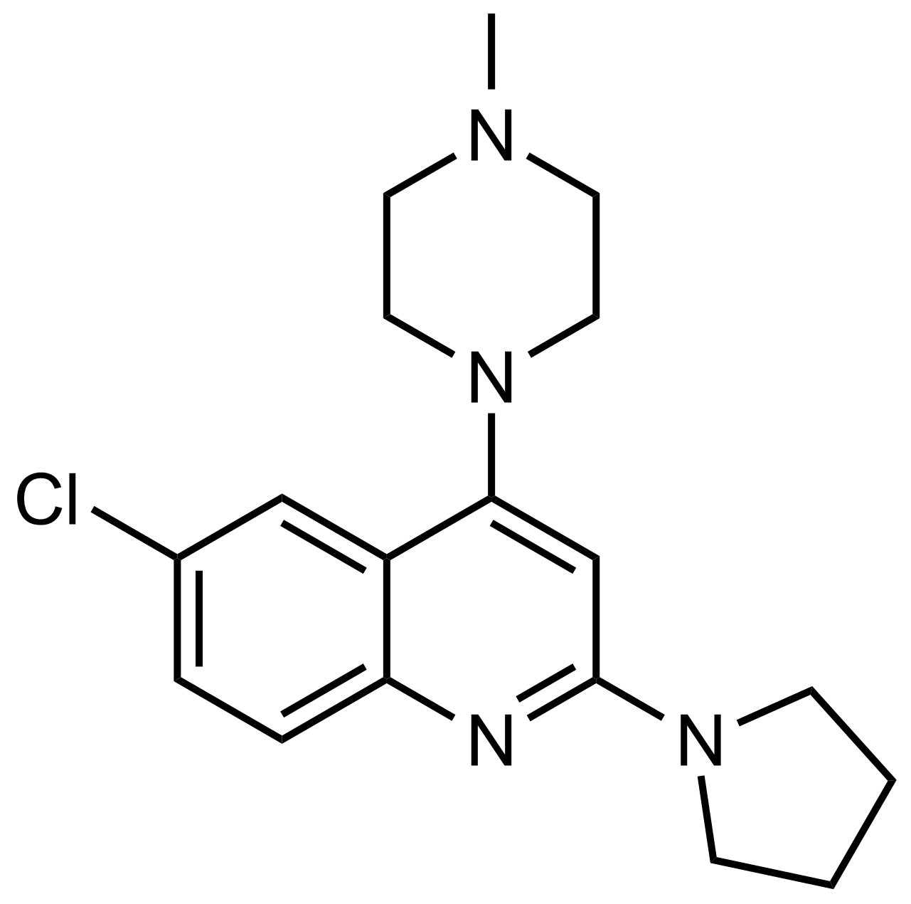 Structure of 6-Chloro-4-(4-methylpiperazin-1-yl)-2-(pyrrolidin-1-yl)quinoline