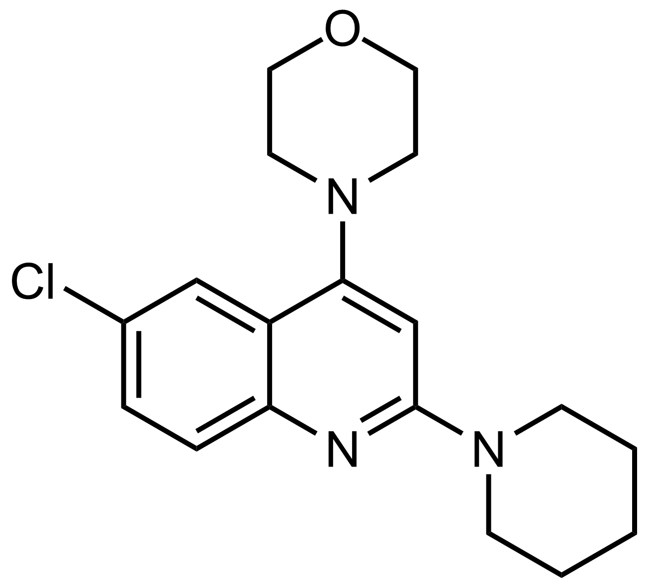 Structure of 4-(6-Chloro-2-(piperidin-1-yl)quinolin-4-yl)morpholine
