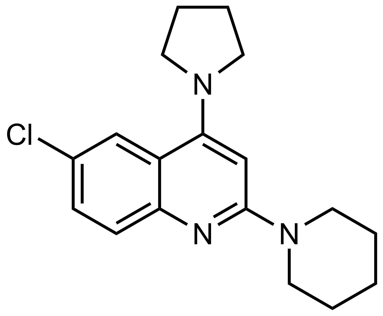 Structure of 6-Chloro-2-(piperidin-1-yl)-4-(pyrrolidin-1-yl)quinoline