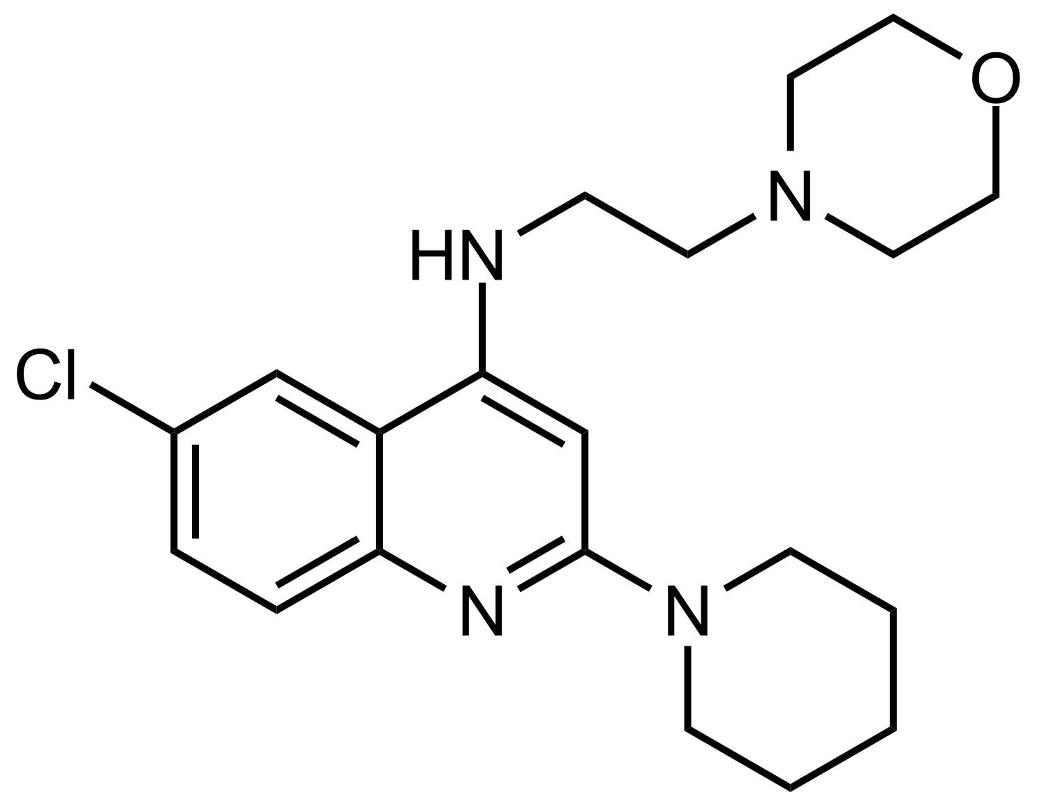Structure of 6-Chloro-N-(2-morpholinoethyl)-2-(piperidin-1-yl)quinolin-4-amine