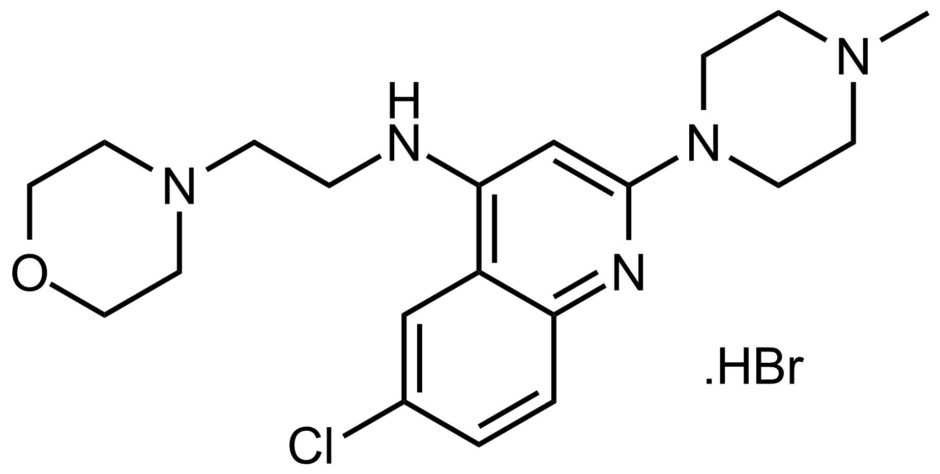 Structure of 6-Chloro-2-(4-methylpiperazin-1-yl)-N-(2-morpholinoethyl)quinolin-4-amine hydrobromide
