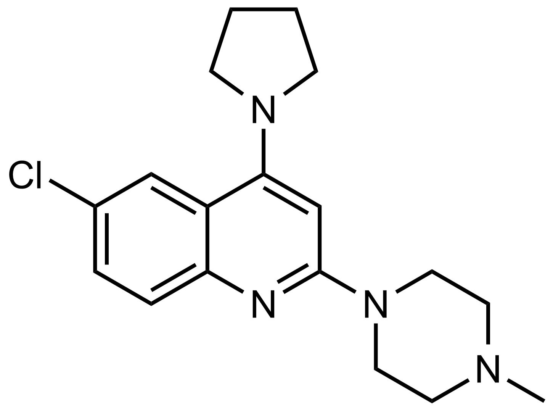 Structure of 6-Chloro-2-(4-methylpiperazin-1-yl)-4-(pyrrolidin-1-yl)quinoline