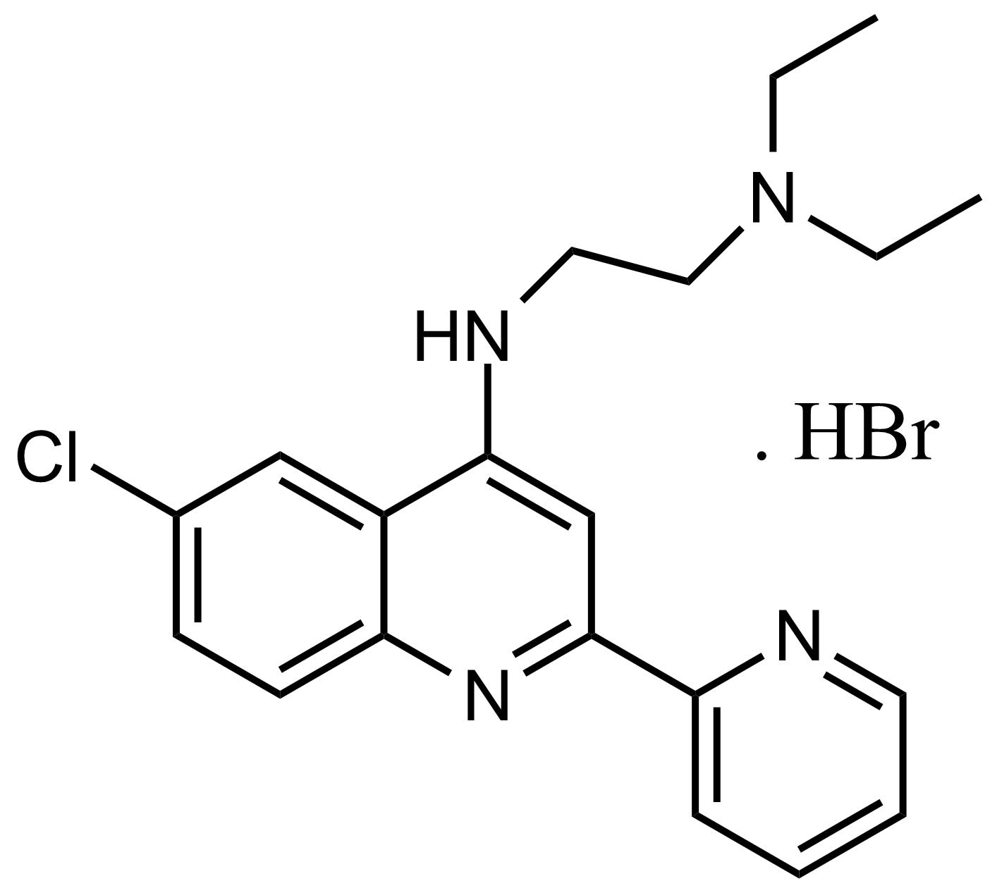 Structure of N'-(6-Chloro-2-(pyridin-2-yl)quinolin-4-yl)-N,N-diethylethane-1,2-diamine hydrobromide