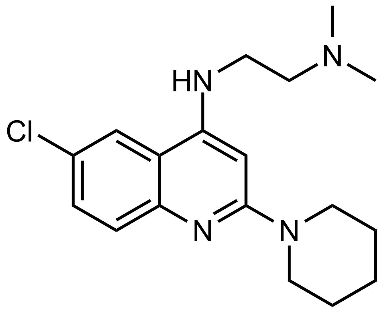 Structure of N'-(6-Chloro-2-(piperidin-1-yl)quinolin-4-yl)-N,N-dimethylethane-1,2-diamine
