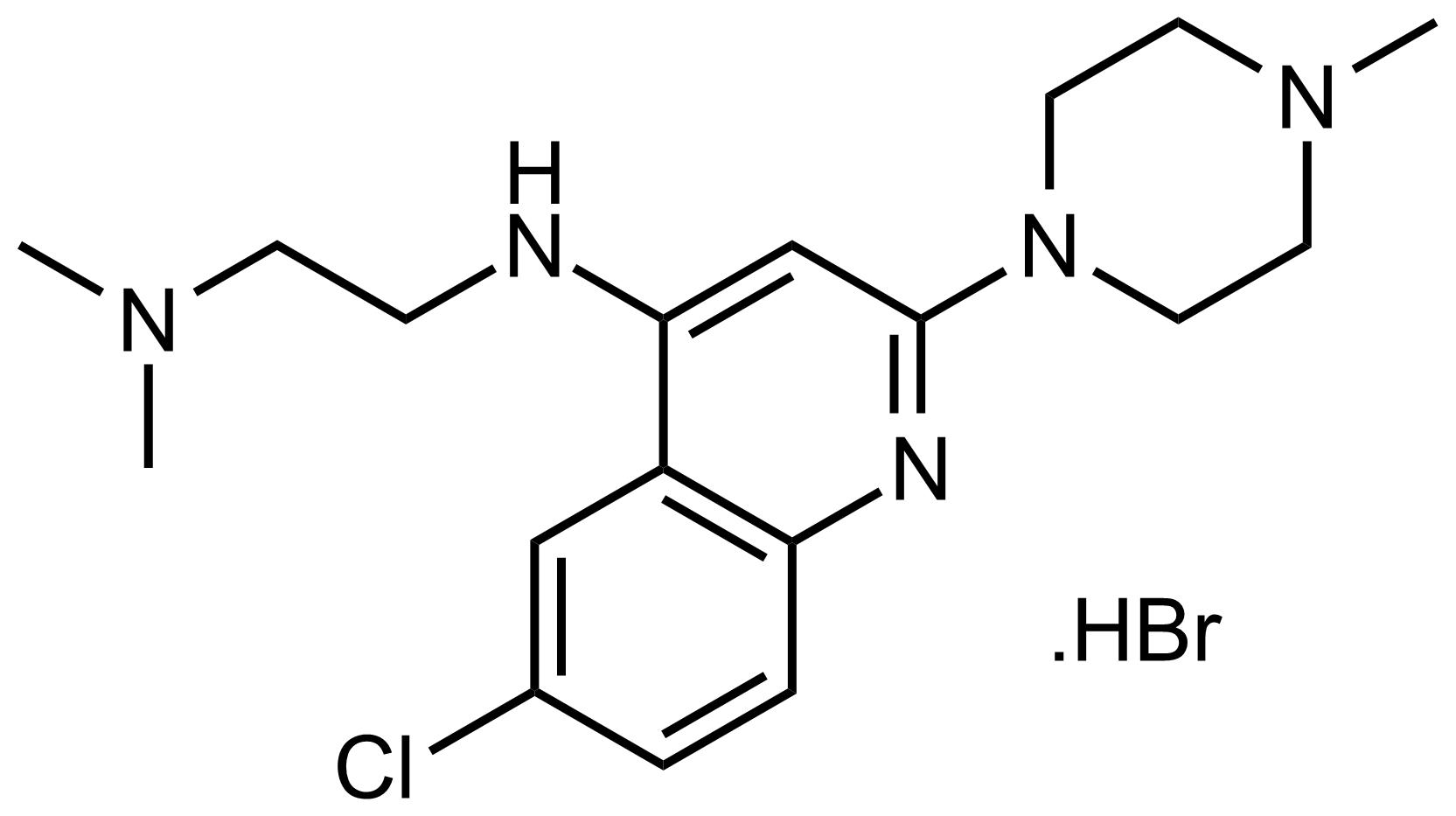 Structure of N'-(6-Chloro-2-(4-methylpiperazin-1-yl)quinolin-4-yl)-N,N-dimethylethane-1,2-diamine hydrobromide