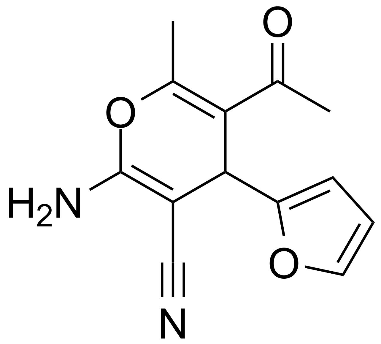 Structure of 5-Acetyl-2-amino-4-(2-furanyl)-6-methyl-4H-pyran-3-carbonitrile