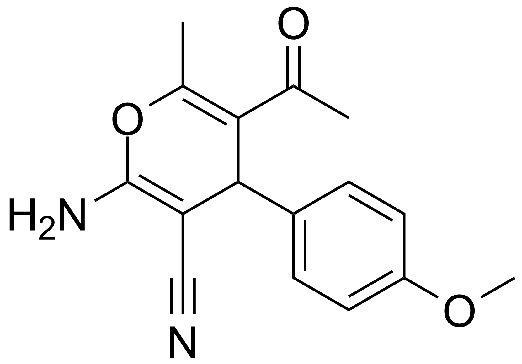 Structure of 5-Acetyl-2-amino-4-(4-methoxyphenyl)-6-methyl-4H-pyran-3-carbonitrile