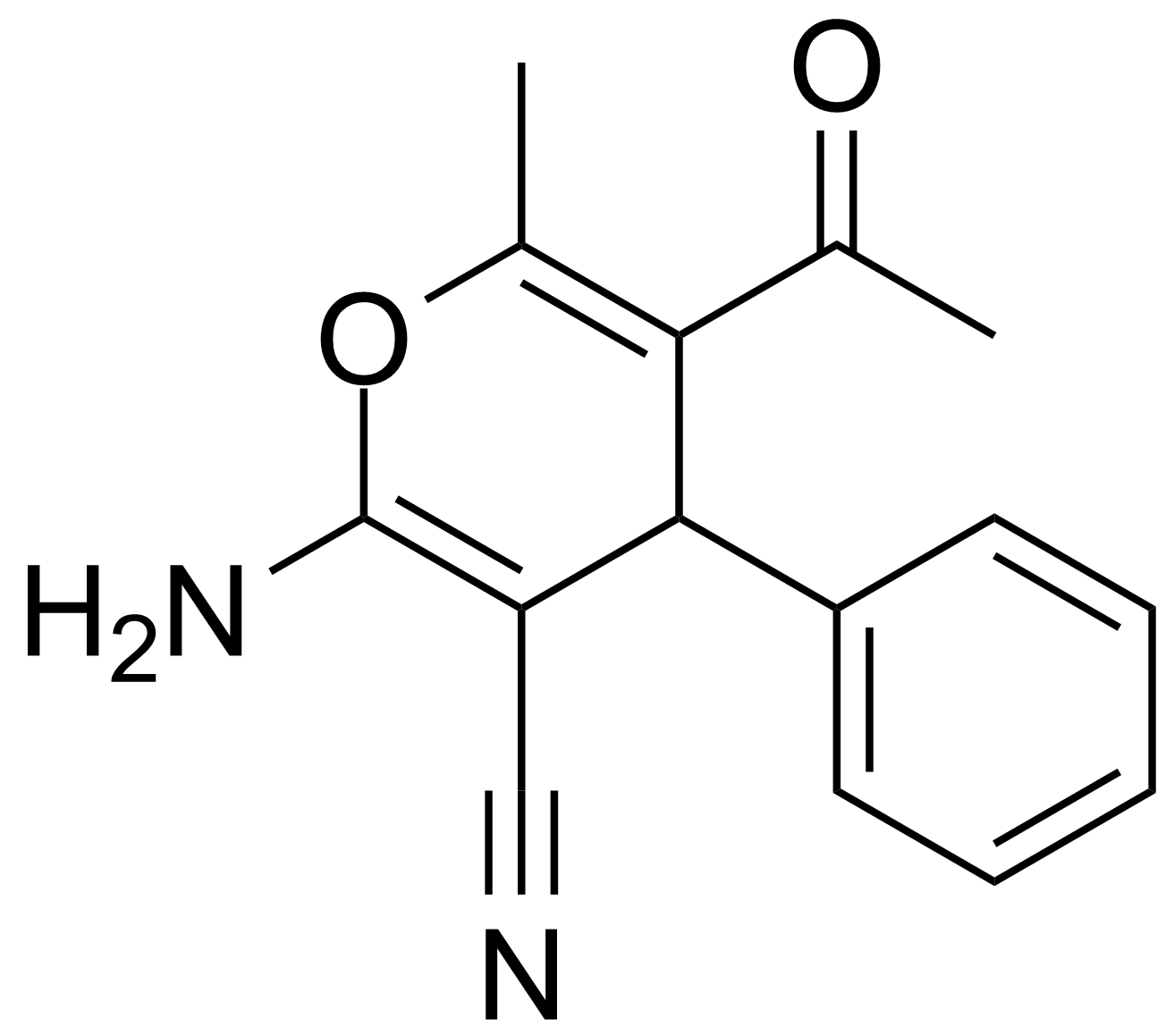 Structure of 5-Acetyl-2-amino-6-methyl-4-phenyl-4H-pyran-3-carbonitrile