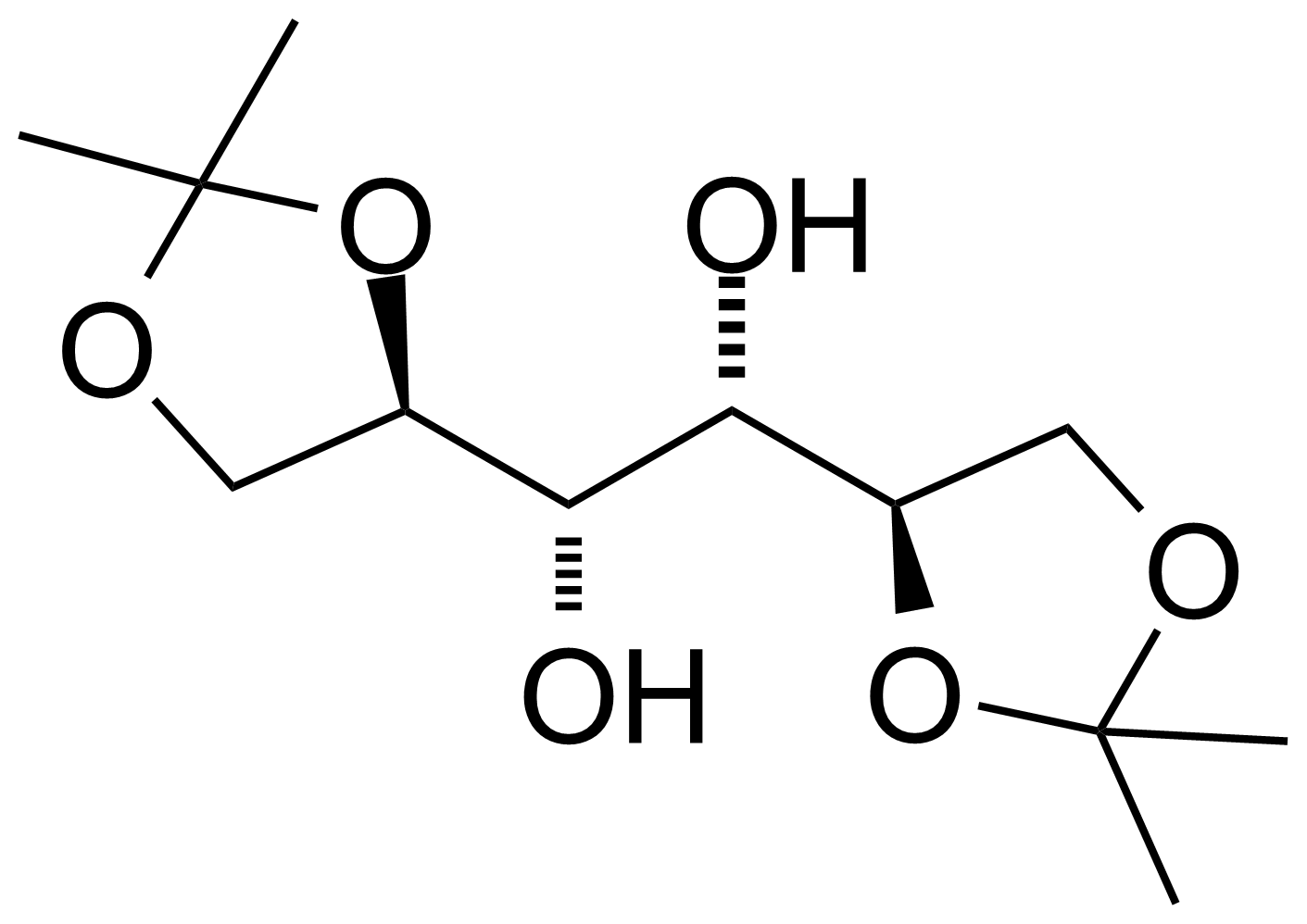 Structure of 1,2-5,6-Di-O-isopropylidene-D-mannitol