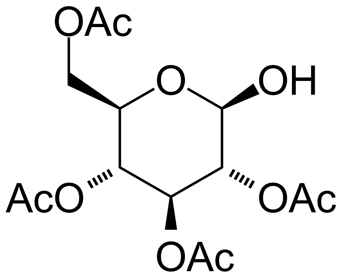 Structure of 2,3,4,6-Tetra-O-acetyl-beta-D-glucose