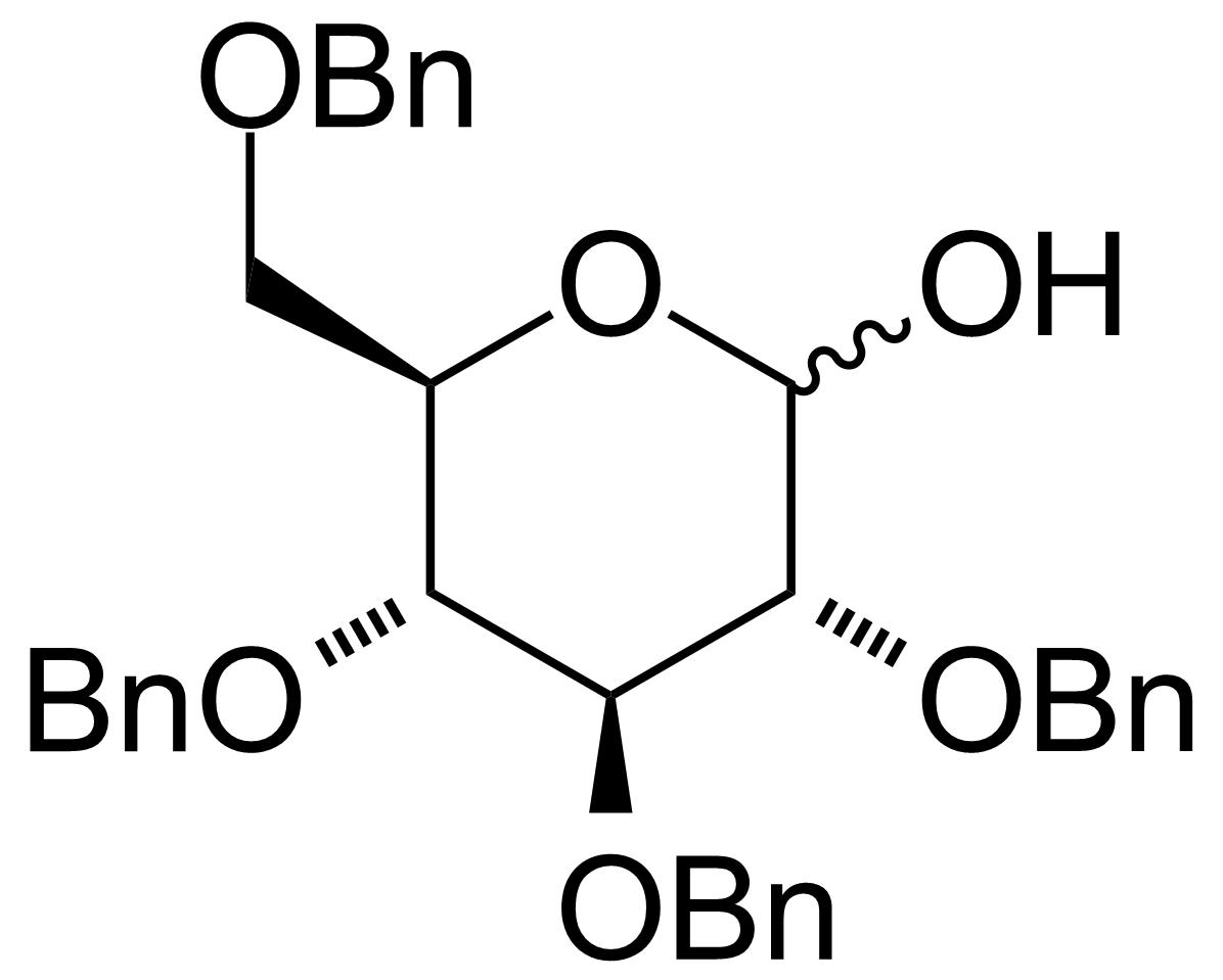 Structure of 2,3,4,6-Tetra-O-benzyl-D-glucopyranose