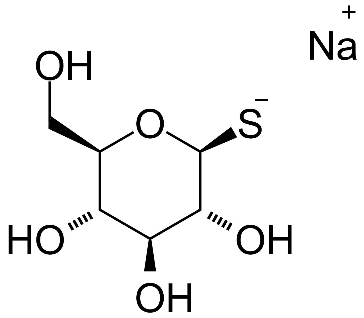 Structure of 1-Thio-B-D-glucose sodium salt