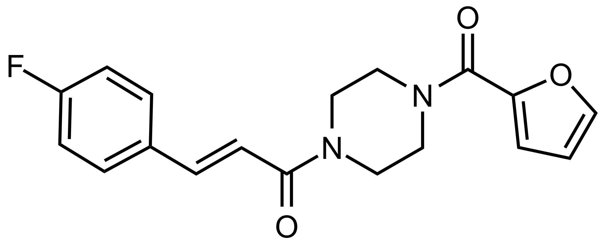 Structure of (E)-3-(4-Fluorophenyl)-1-(4-(furan-2-carbonyl)piperazin-1-yl)prop-2-en-1-one
