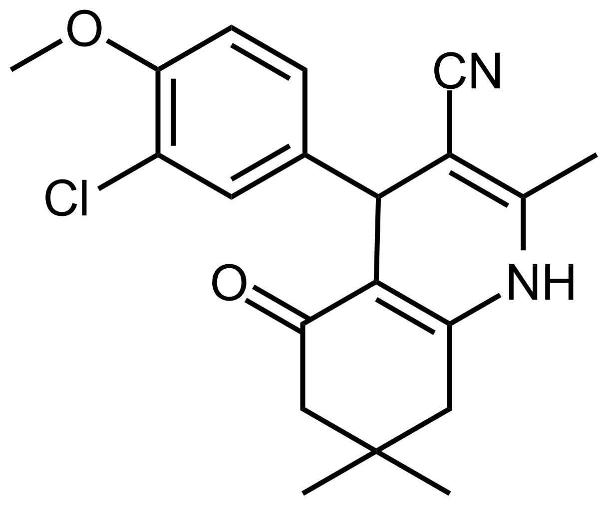 Structure of 4-(3-Chloro-4-methoxyphenyl)-2,7,7-trimethyl-5-oxo-1,4,5,6,7,8-hexahydroquinoline-3-carbonitrile