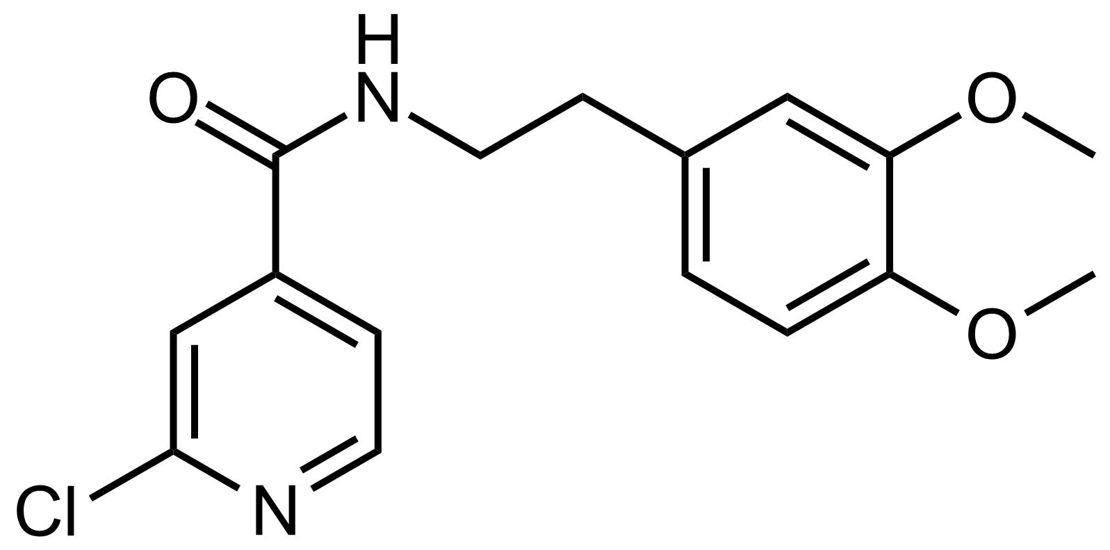Structure of 2-Chloro-N-(3,4-dimethoxyphenethyl)isonicotinamide