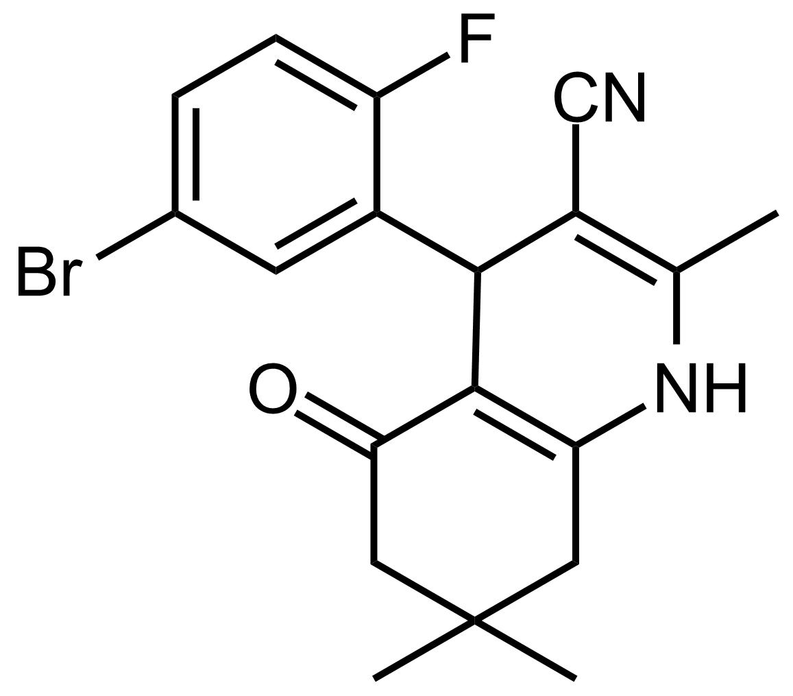Structure of 4-(5-Bromo-2-fluorophenyl)-2,7,7-trimethyl-5-oxo-1,4,5,6,7,8-hexahydroquinoline-3-carbonitrile