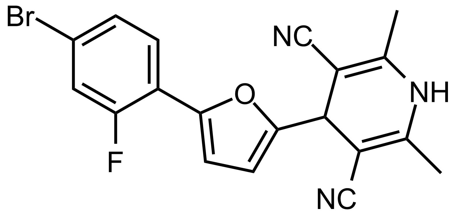 Structure of 4-(5-(4-Bromo-2-fluorophenyl)furan-2-yl)-2,6-dimethyl-1,4-dihydropyridine-3,5-dicarbonitrile