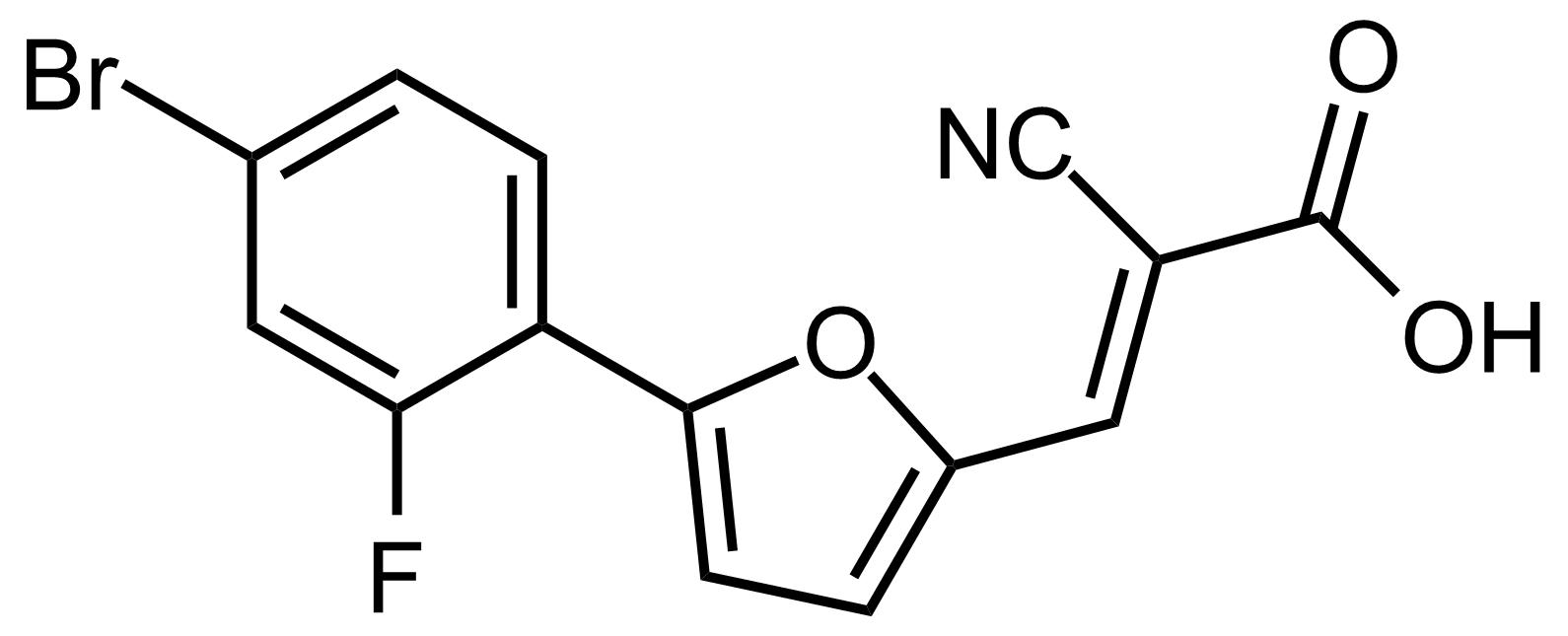 Structure of (E)-3-(5-(4-Bromo-2-fluorophenyl)furan-2-yl)-2-cyanoacrylic acid