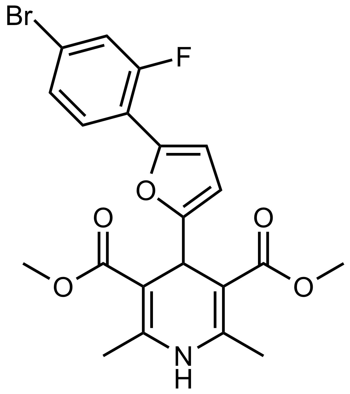 Structure of Dimethyl 4-(5-(4-bromo-2-fluorophenyl)furan-2-yl)-2,6-dimethyl-1,4-dihydropyridine-3,5-dicarboxylate