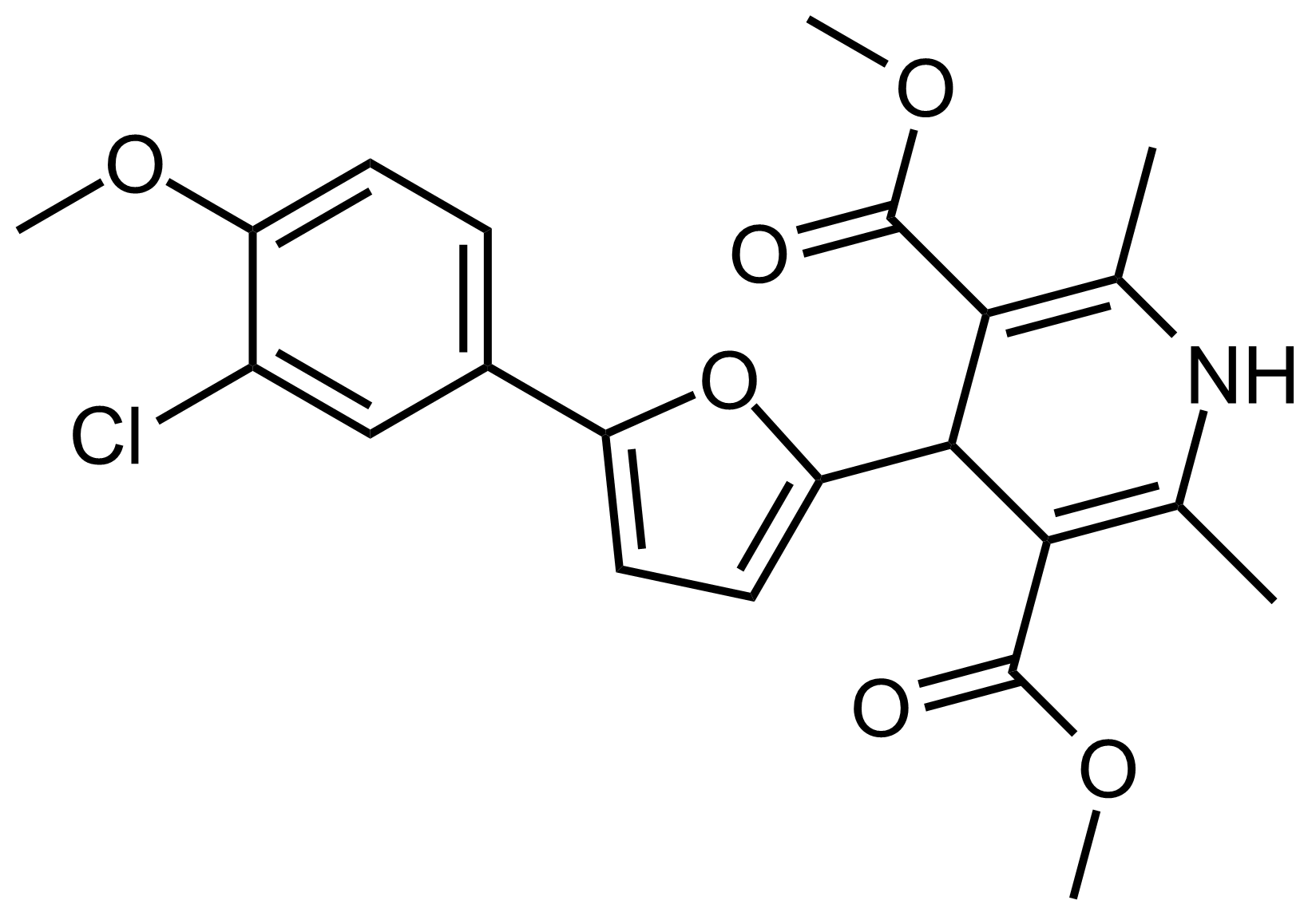 Structure of Dimethyl 4-(5-(3-chloro-4-methoxyphenyl)furan-2-yl)-2,6-dimethyl-1,4-dihydropyridine-3,5-dicarboxylate